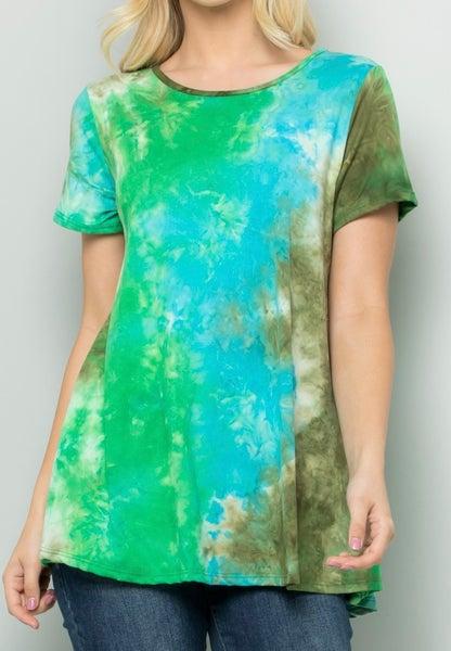 PLUS Green & Blue Tie Dye Print Tunic Top