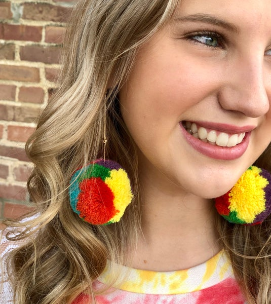 Dangle Multi Color Pom Pom Earrings