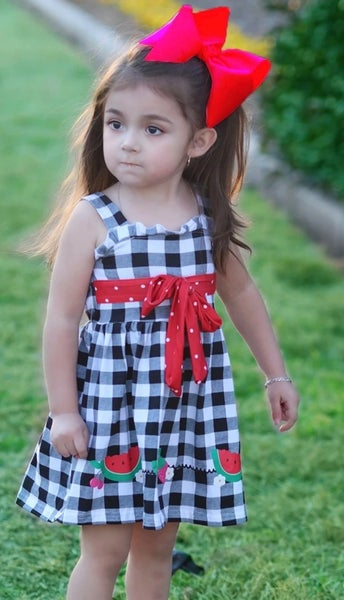 Kids Watermelon Checker Print Sun Dress