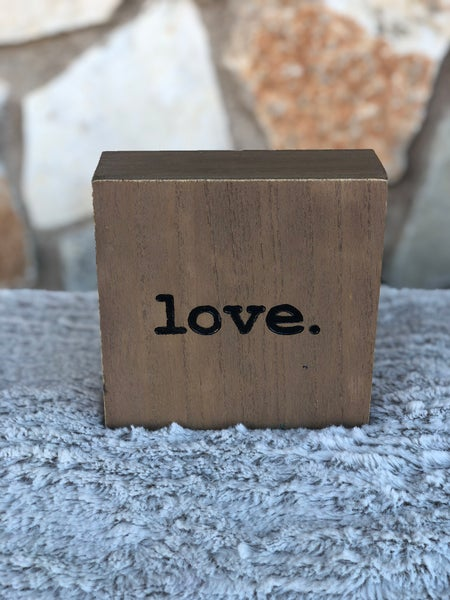 "Love Period Wooden Tabletop Sign - 5"" x 5"" x 2"""