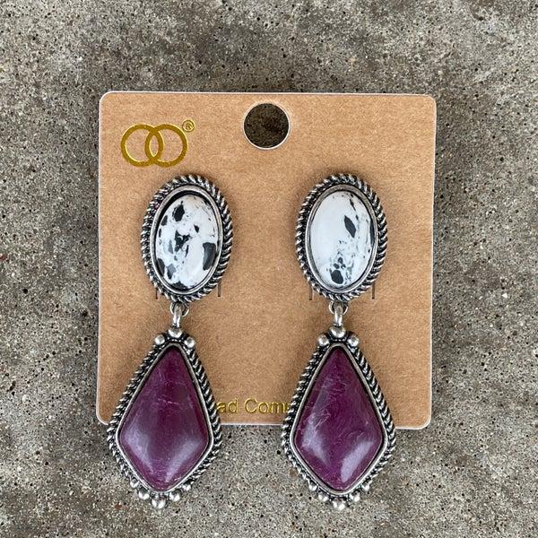 Cow Print Stone & Maroon Stone Earrings
