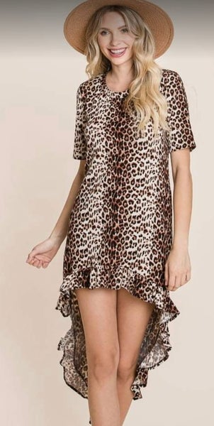 Leopard Hi-Low Ruffle Short Sleeve Dress
