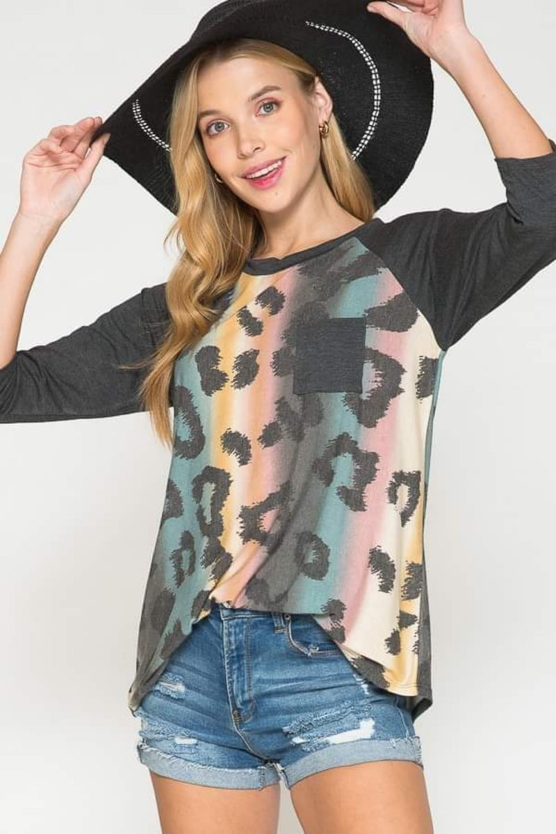 Leopard Teal Mix Charcoal 3/4 Sleeve Top