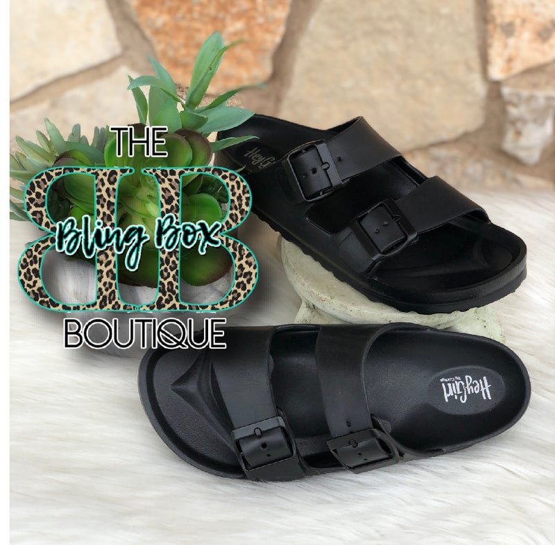 Corkys Hey Girl Black Waterslides w/adjustable Buckle