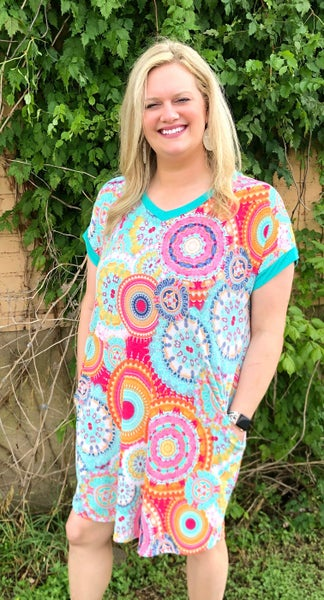 Geo Print Shift Dress w/Pockets