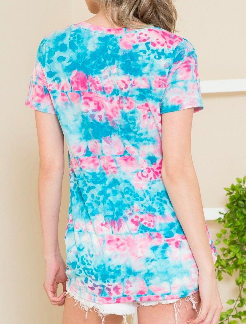 PLUS Aqua Tie Dye Short Sleeve Knotted Hem Top