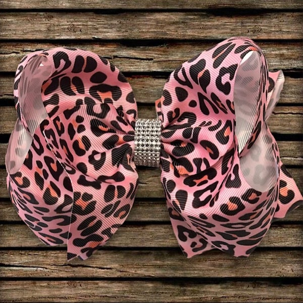 "Pink Leopard Print Rhinestone Hair Bow 7.5"" W"