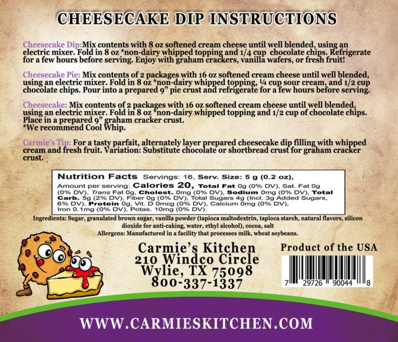 Chocolate Chip Cookie Dough Cheesecake Dip Mix