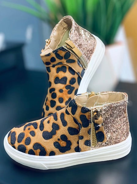 Kids Leopard & Rose Gold Glitter High Top Sneakers  SIZE