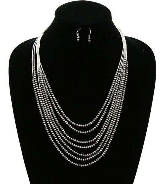 Silver 7-Strand Skinny Navajo Pearl Necklace Set