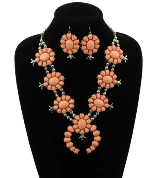 Flower Style Coral Squash Blossom & Earring Necklace Set