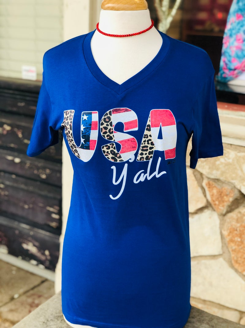 Royal Blue V-Neck USA Ya'll Leopard Print Tee