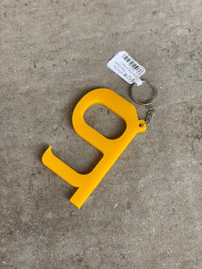 ATM Pin Pad Door Hook Keychain - Dark Yellow