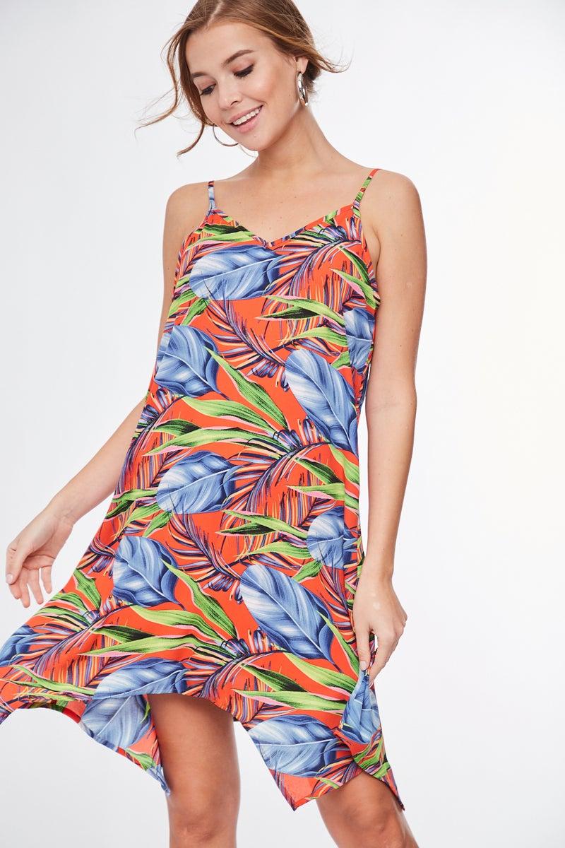 Multi Color Sleeveless Tropical Dress