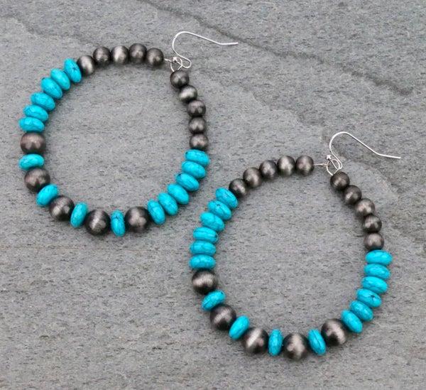 """2.5"""" Wide Navajo Pearl & Turquoise Beaded Hoop Earrings"""
