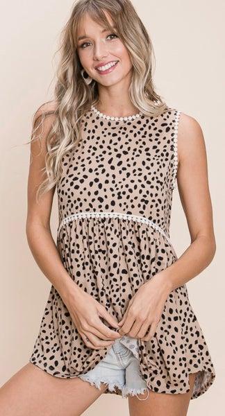 Leopard Print Babydoll Tank Top