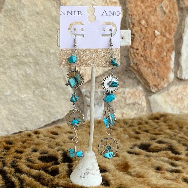 Steam Punk Silver & Turquoise Stone Earrings