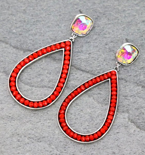 Red Glass Beaded Teardrop AB Stud Earrings