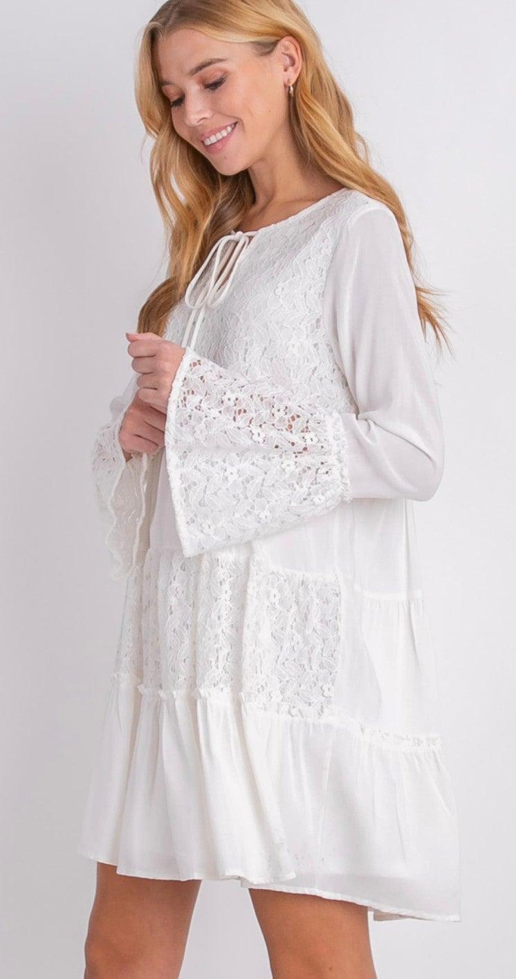 White Bohemian Lined Lace Long Sleeve Dress