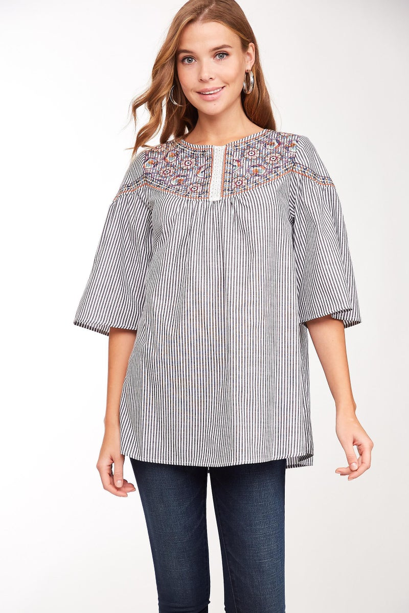 Black Striped Embroidered Flared Sleeve Top