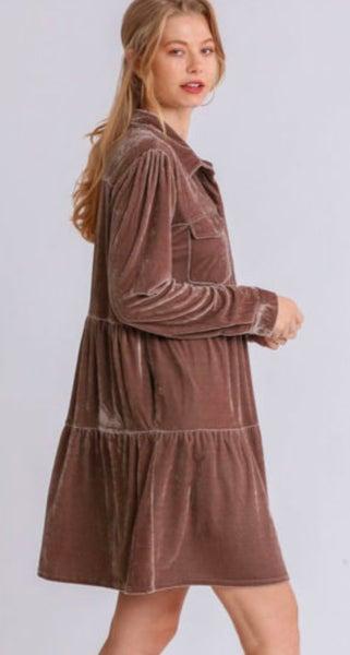 Mocha Long Sleeve Velvet Button Up Dress