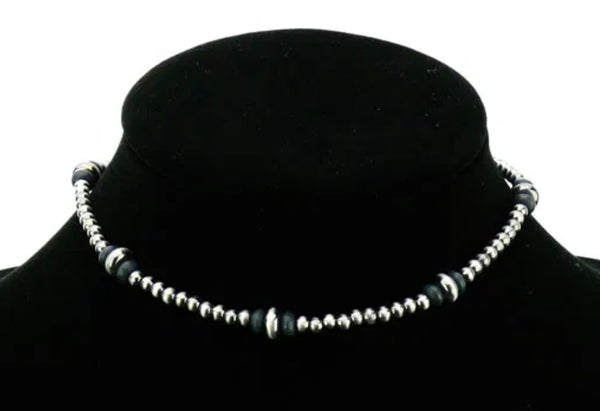 Black & Silver 4mm Navajo Pearl Choker Necklace