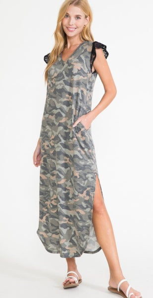 Camo Black Lace Flutter Sleeve Maxi Dress