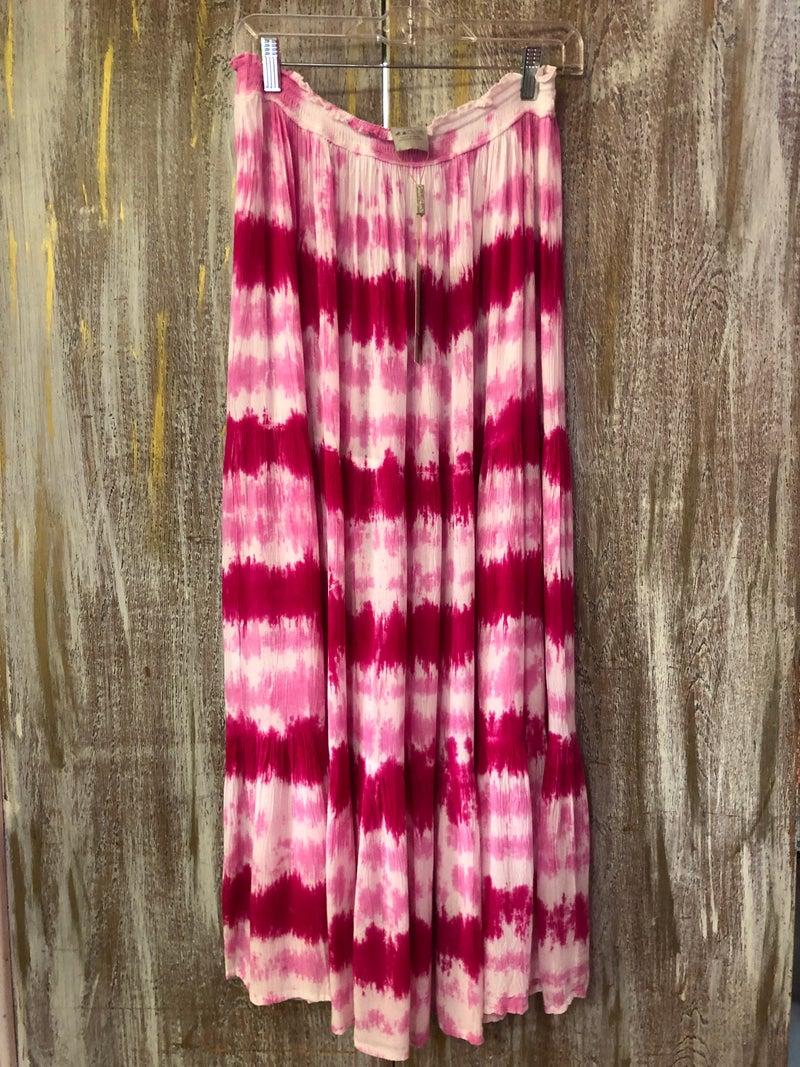 Pink & White Tie Dye Stretch Waist Skirt