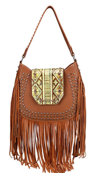 Camel Aztec Leather Studded Fringe Montana West Hobo Bag