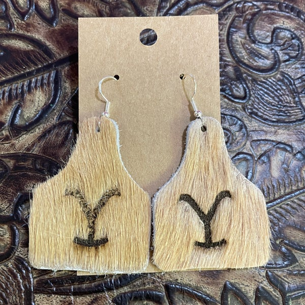 Yellowstone Brindle Branded Leather Cow Tag Earrings #6