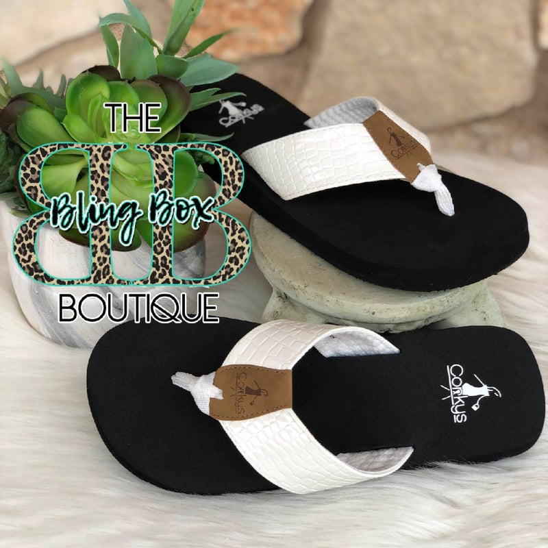 Corkys Beach Ball White Flip Flops