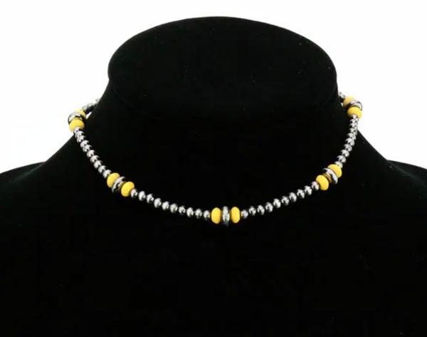 Mustard & Silver 4mm Navajo Pearl Choker Necklace
