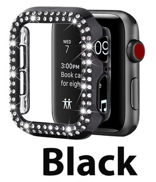Black 38 mm Rhinestone Crystal Bling Apple Watch Case