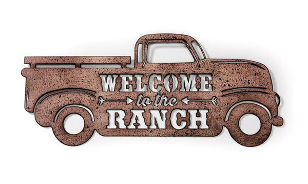 """Welcome to The Ranch Vintage Truck 8"""" x 19.5"""" Sign"""