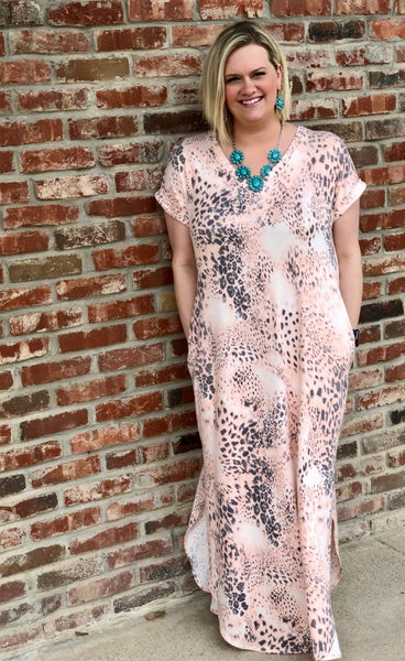 Peach Leopard Mix Maxi Dress w/Pockets