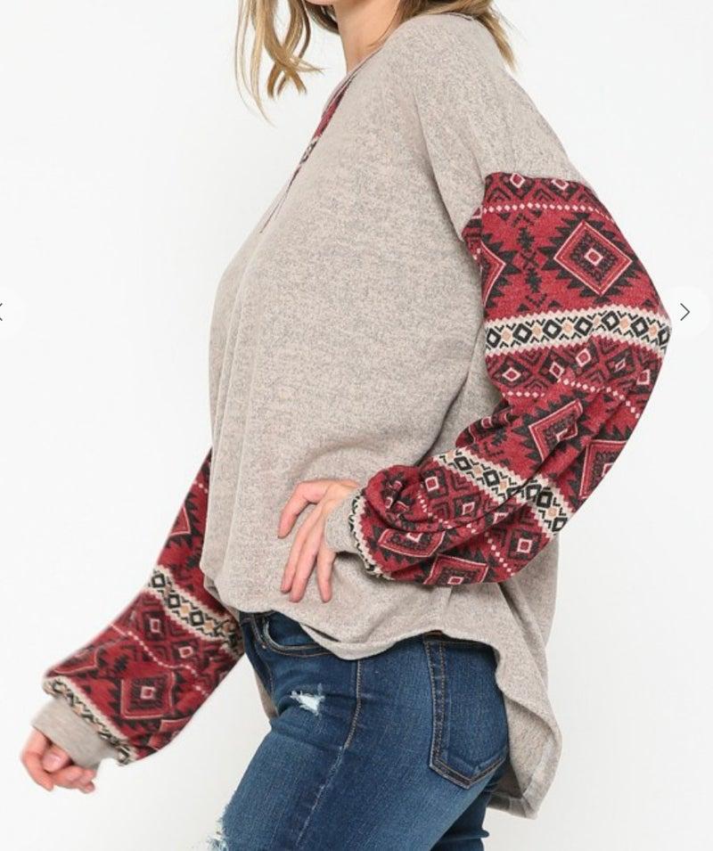Burgundy Aztec Sleeve Soft Sweater Top