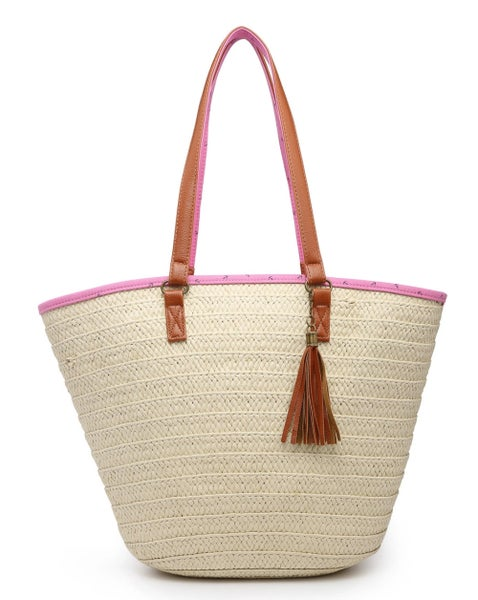 Pink Anchor Daisy Natural Seagrass Tote w/Top Zipper