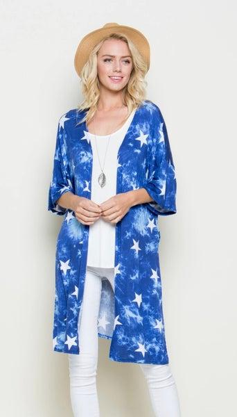 PLUS Royal Blue Tie Dye Star Cardigan