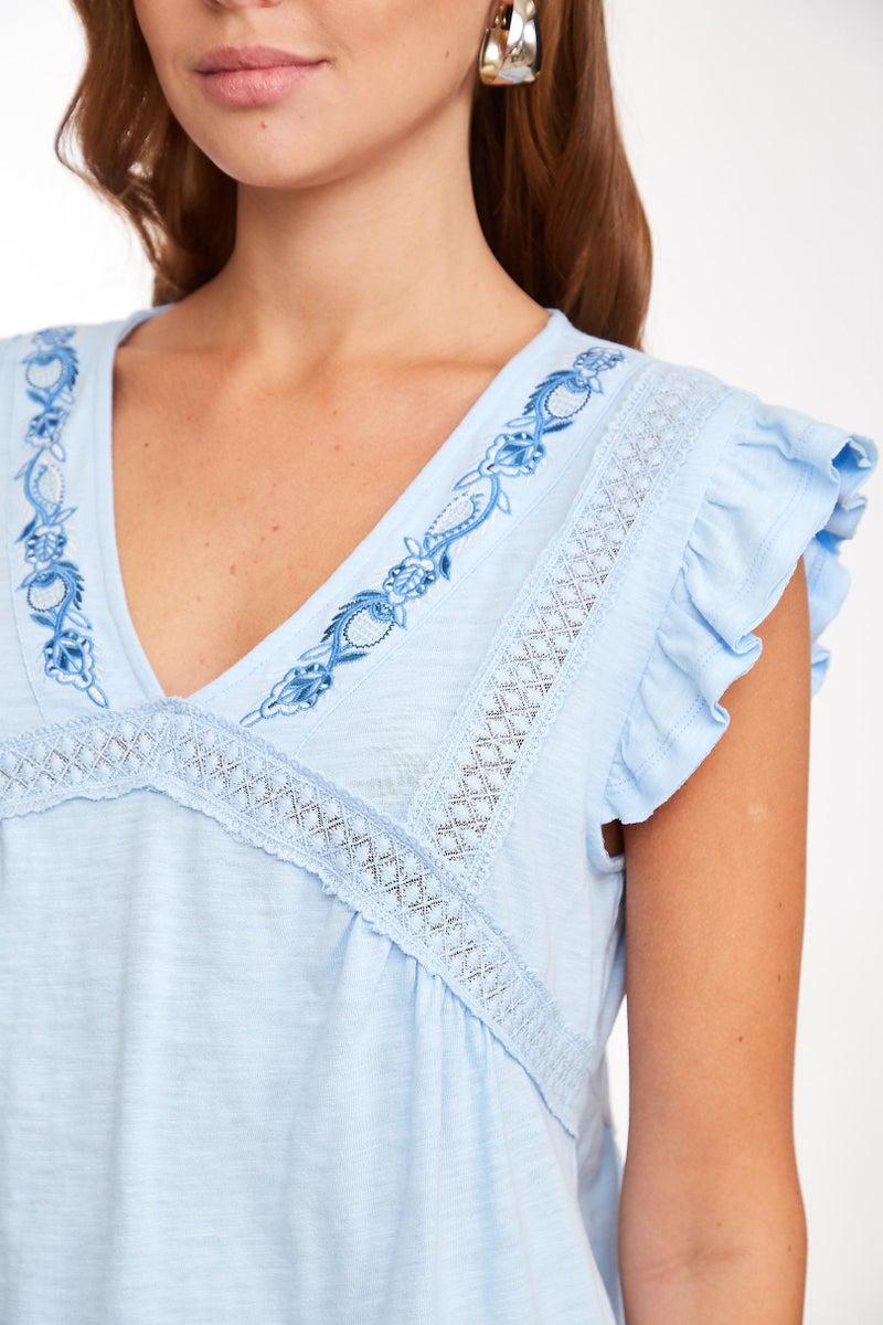 Sky Blue Embroidered Lace Trim V-Neck Top