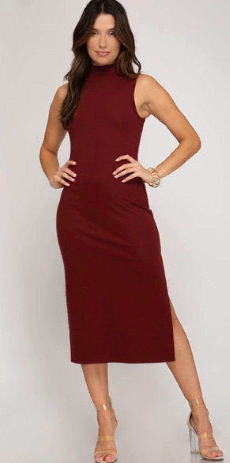 Brick Sleeveless Mock Neck Dress