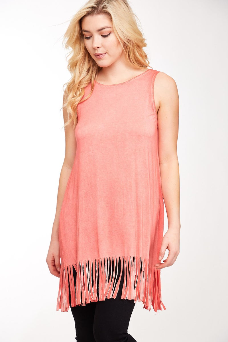 Coral Open Back Fringe Tunic