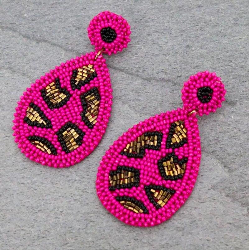 Dark Pink Leopard Seedbead Teardrop Stud Earrings