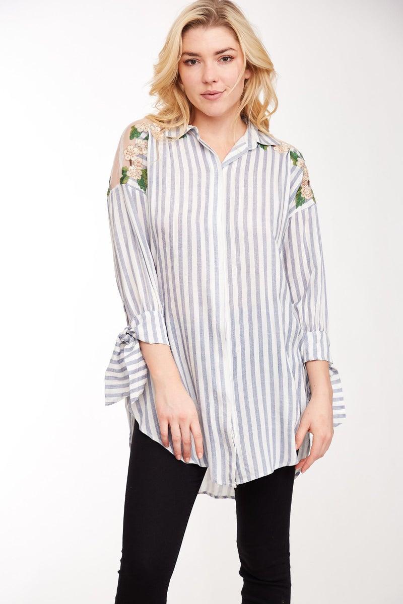Oatmeal Embroidered Stripe Shirt