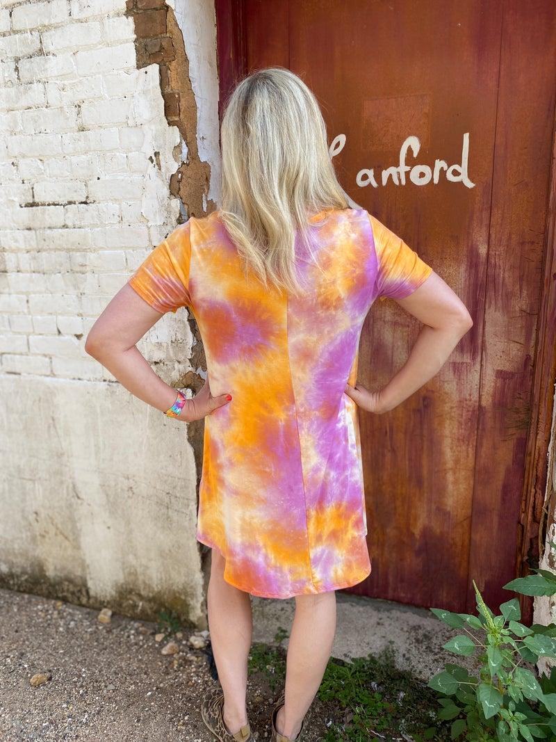 Sherbert Tie Dye Plus Size Swing Dress