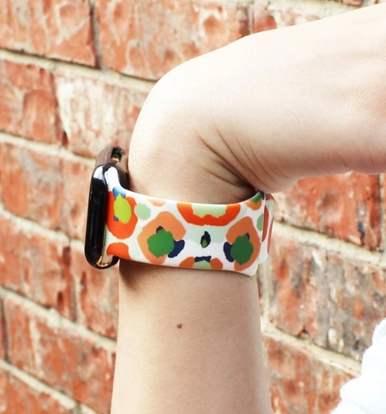 Leopard Bright Multi Silicone Printed Band for Apple Watch 38 mm