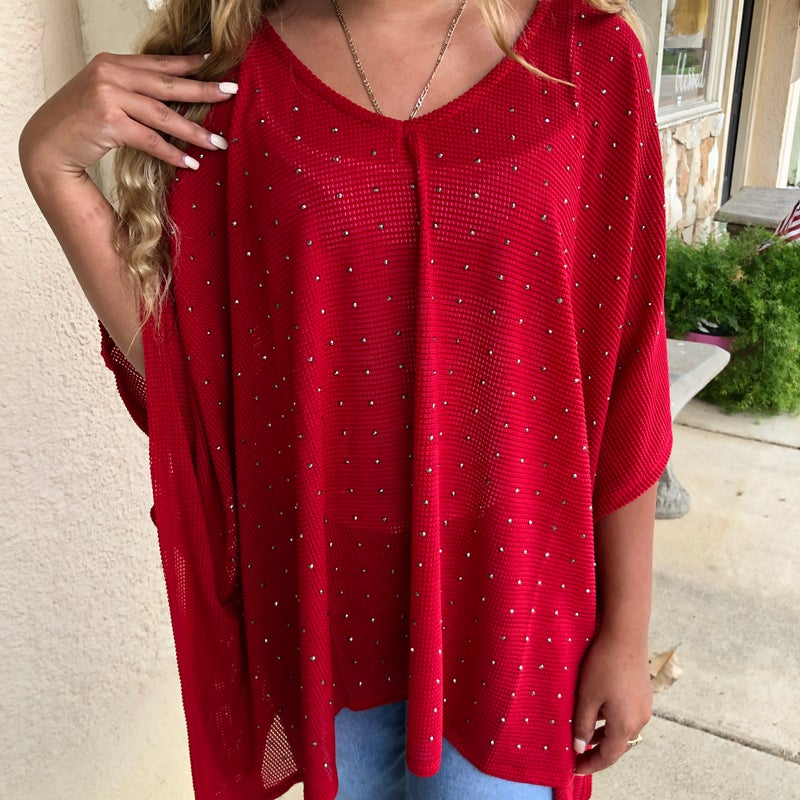 Holiday Red  Oversized Stud Top