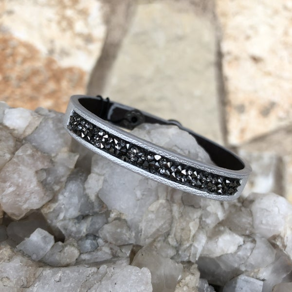 Silver Leather Snap Crystal Bracelet
