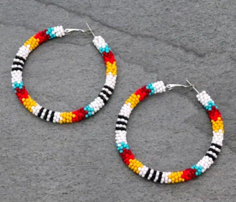 """2"""" Aztec Multi Seed Beed Hoop Earrings"""