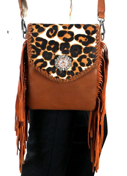 Montana West Brown Leather Hair-On Hide Collection Crossbody Bag