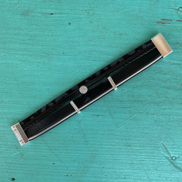 Black & Leopard Rhinestone Magnetic Bracelet